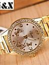 Mode de diamants papillon miroir quartz acier analogique montre de la ceinture des femmes