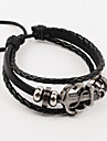 Vilam® Vintage Hematite Anchor Black Handmade Woven Leather Bracelet Jewelry Christmas Gifts