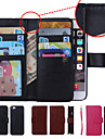Solid Color Wallet Case Wrist Strap Genuine Leather Full Body Cases with 9 Card Slots for iPhone 6 (Assorted Colors)