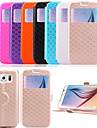 KARZEA™Diamond Double Windows Pattern TPU and PU Leather Case with Stand  for Samsung Galaxy S6 G9200