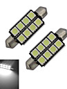 2pcs 150-170lm Festoon Decoration Light 8 LED Beads SMD 5050 Cold White 12V