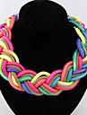 Women's Choker Necklaces Pendant Necklaces Chain Necklaces Statement Necklaces Alloy Fashion Yellow Fuchsia Pink Light Blue Rainbow