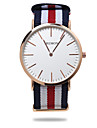 Men's Wrist watch Quartz Casual Watch Fabric Band Stripes Black Blue Red Green