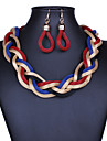 Women\'s Stardust Twisted Drop Earrings Statement Necklace Statement Ladies Vintage Purple Red Blue 42 cm Necklace Jewelry 1pc For Party Special Occasion Congratulations