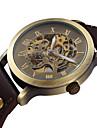 SHENHUA Masculino Relógio de Pulso relógio mecânico Gravação Oca Automático - da corda automáticamente Couro Banda Preta Marrom