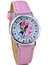 아동 패션 시계 석영 모조 다이아몬드 PU 밴드 만화 핑크 블루 핑크