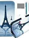 Pour Coque iPhone 5 Portefeuille Avec Support Clapet Coque Coque Intégrale Coque Tour Eiffel Dur Cuir PU pour iPhone SE/5s/5