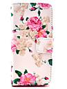 스크린 보호자, 스타일러스와 아이폰 5C를위한 대를 가진 COCO FUN ® 로즈 꽃 패턴 PU 가죽 가득 차있는 몸 케이스