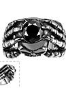 maya classica hold unica cubicos zirconia individuo com as maos homem anel de aco inoxidavel (preto) (1pcs)