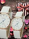 남성 아가씨들 커플용 드레스 시계 패션 시계 석영 PU 밴드 블랙 화이트 브라운 화이트 커피 블랙과 화이트 블랙
