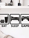 Cartoon / Fashion / Leisure Wall Stickers Plane Wall Stickers EAT SLEEP GAME PVC Wall Stickers