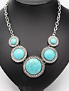 Imitation Diamond Turquoise Pendant Vintage Necklace Statement Necklace - Luxury Silver Necklace For Wedding Party Daily Casual