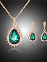Κοσμήματα Σετ - Πετράδι, Cubic Zirconia, Με Επίστρωση Ροζ Χρυσού Κρεμαστό Πάρτι, Μοντέρνα Περιλαμβάνω Πράσινο Για Πάρτι Ειδική Περίσταση Επέτειος / Cercei / Κολιέ