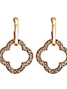 Korean Fashion Studded With Drill Hollow Quatrefoil Alloy Earrings