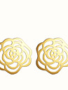 Stud Earrings Alloy Fashion Flower Silver Golden Jewelry Party Daily Casual 2pcs