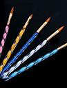 1set винтовая ногтей акрил ручки резьба кристалл ручка ручка (щетка 5шт / комплект)