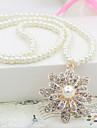 Pentru femei Perle Lung Coliere cu Pandativ - Perle Floare Boem, Boho Alb Coliere Bijuterii Pentru