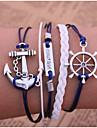Homme Femme Cuir Ancre Chaînes & Bracelets Bracelets en cuir Bracelets Vintage - Multicouches Inspiration Ancre Bleu Bracelet Pour