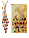 Feminino Conjunto de Joias Moda Joias de Luxo bijuterias Imitacoes de Diamante Pavao Brincos Colar Para Festa Ocasiao Especial Aniversario