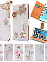 Case For Apple iPhone 6 iPhone 6 Plus Card Holder Rhinestone with Stand Flip Full Body Cases Glitter Shine Hard PU Leather for iPhone 6s