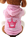 Cat Dog Hoodie Dog Clothes Tiaras & Crowns Pink Cotton Costume For Pets Women\'s Cute Fashion
