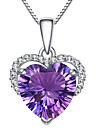 Women\'s Crystal Pendant Necklace - Sterling Silver, Zircon, Rhinestone Heart, Love Fashion Purple Necklace Jewelry For Party, Daily, Casual