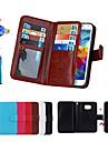 Для Кошелек / Бумажник для карт / со стендом / Флип / Магнитный Кейс для Чехол Кейс для Один цвет Твердый Искусственная кожа SamsungS6