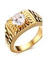 Homens Anel de declaracao - Zircao, Chapeado Dourado Fashion 7 / 8 / 9 Dourado Para Presentes de Natal / Casamento / Festa