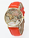 Women\'s Fashion Watch Quartz Hot Sale PU Band Vintage World Map Black Blue Red Orange Brown Green Pink Purple Yellow Khaki
