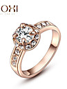 Кольца Мода Свадьба Бижутерия Сплав Женский Массивные кольца 1шт,Стандартный размер Золотой