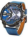 Мужской Наручные часы С двумя часовыми поясами Кварцевый Японский кварц Кожа Группа Синий
