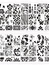 5 pcs bélyegzés Plate / Köröm ékszer Virág / Divat Napi Körömművészeti tervezés / Fém