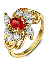 2016 Luxurious Flower Party 18K Gold Plated Red Rhinestone Engagement Rings For Women