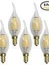 5 pcs kwb E14 6W 6 COB 600 lm Warm White C35T edison Vintage LED Filament Bulbs AC 220-240 V
