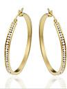 Женский Серьги-кольца Мода Стразы Титановая сталь Позолота Круглый Овальной формы Бижутерия Назначение Для вечеринок Повседневные