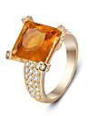 Классические кольца Сплав Циркон В форме квадрата Мода Заявление ювелирные изделия Оранжевый Бижутерия Для вечеринок Повседневные 1шт