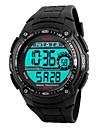 SKMEI 남성 스포츠 시계 LED 달력 크로노그래프 방수 경보 야광 스톱워치 디지털 PU 밴드 멋진 블랙