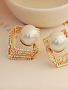 Stud Earrings Pearl Rhinestone Alloy Fashion Square Silver Golden Jewelry Party Daily Casual 1 pair