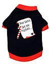 Chat Chien Tee-shirt Vetements pour Chien Lettre et chiffre Noir/Rouge Coton Costume Pour les animaux domestiques Homme Femme Noel