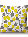 1Pcs Yellow Grey Plants Leaf Pattern Cotton Pillow Cover