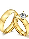 2016 Gold Noble Titanium Steel CZ Stone Wedding Couples Ring  For Women&Man
