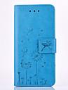 Кейс для Назначение Apple Кейс для iPhone 5 iPhone 6 iPhone 7 Бумажник для карт Кошелек со стендом Рельефный Чехол одуванчик Твердый Кожа