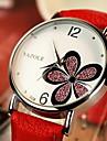 YAZOLE Femme Montre Habillee Montre Tendance Montre Bracelet Quartz Strass Cuir Bande Fleur Noir Blanc Rouge