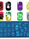 рисунок ладони отпечатков пальцев маникюр печать пластины нога прямоугольная пластина качество шаблон синий фильм