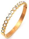 Женский Браслет цельное кольцо Pоскошные ювелирные изделия Нержавеющая сталь Позолота Искусственный бриллиант Бижутерия Назначение Для