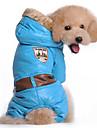 Собака Плащи Толстовки Комбинезоны Одежда для собак Хлопок Зима Весна/осень Сохраняет тепло Защита от ветра Однотонный Синий Розовый Для