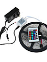 HRY 5m Light Sets / RGB Strip Lights 300 LEDs 3528 SMD 1 24Keys Remote Controller / 1 x 2A power adapter RGB Cuttable / Waterproof / Linkable 12 V 1set / IP65