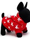 Gato Cachorro Sueters Camisola com Capuz Roupas para Caes Fofo Mantenha Quente Natal Estrelas Vermelho Azul