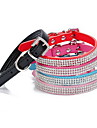 Cat Dog Collar Adjustable / Retractable Rhinestone Solid PU Leather Black Rose Red Blue Pink