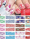 12 pcs Classico Sticker per il trasferimento di acqua Nail Art Design Quotidiano